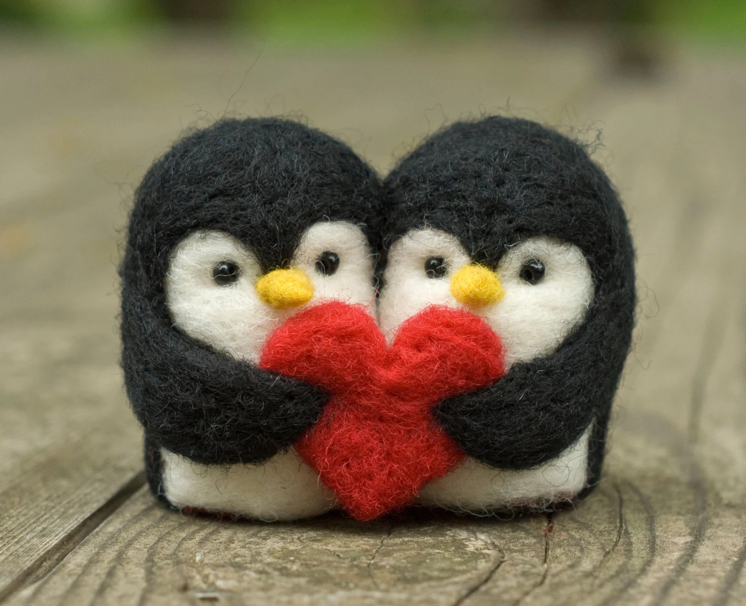 needle felted penguin love