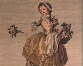 "Vintage Framed Gobelin ""Bouquetière"" Needlepoint, 18th Century Woman Needlepoint, Jean-Frédéric Schall Tapestry"