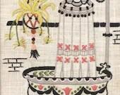 Framed Vintage Bathroom Embroidery Piece, Signed