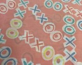 Vintage Hugs and Kisses Fabric, X O Fabric, Tic Tac Toe Fabric, 80s Fabric, Love is Love Fabric