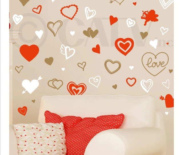 Valentines Day Assorted Hearts Self Adhesive Vinyl Wall Decal Stickers For Home Or Classroom Decorations Party Decor