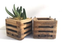 Vintage Wooden Planter Repurposed Crate Rustic