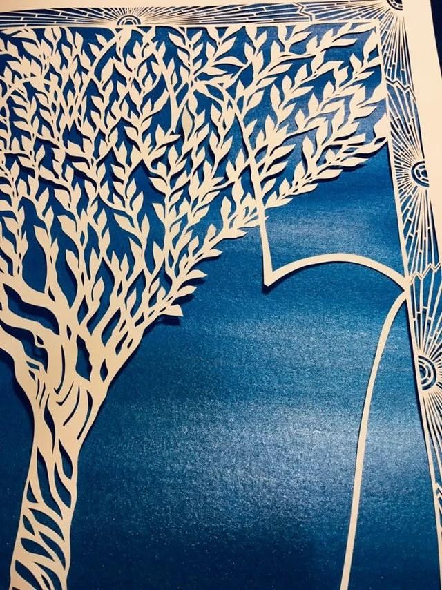 Art Deco Tree : Sunrise, Border, Hamsa