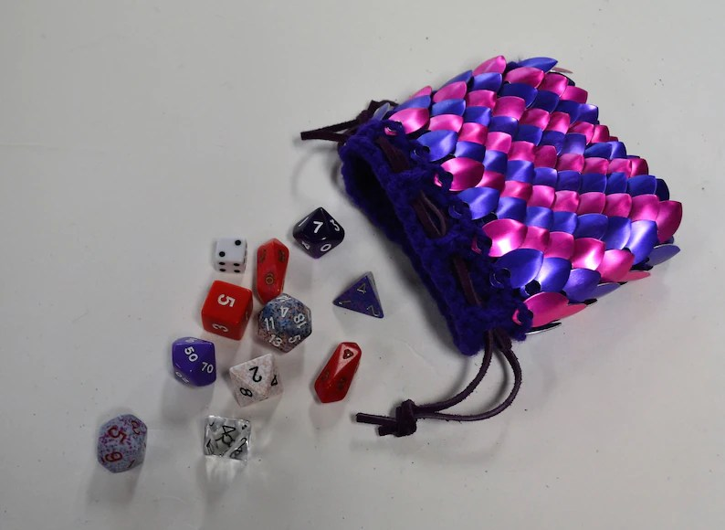 dice bag of knitted