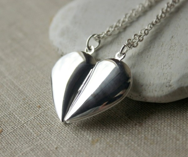 Two Silver Heart Locket Set Friendship Necklaces Pair