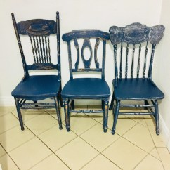 Chairs For Kitchen Zephyr Hurricane Ak2500 Hood Etsy Dining Vintage Farmhouse Custom Painted Shabby Chic Navy Blue Set Of 3 Chair