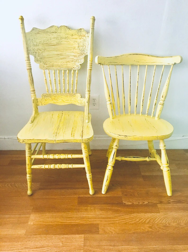 Kitchen Chairs Wood Dining Chairs Vintage Chairs Farmhouse Chairs Custom Painted Chairs Shabby Chic Chairs Kitchen Chairs Yellow Chairs Chairs Set Of 2 Chairs