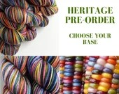 Hand dyed yarn pre-order.  Variegated Heritage rainbow yarn dyed to order - choose your own yarn. Short colour change for knitting, crochet
