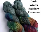 Hand dyed yarn pre-order.  Dark Winter Rainbow colourway. Variegated wool yarn dyed to order. Dark green/grey with dark rainbow.