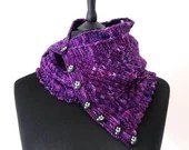 Purple hand knit cashmerino wool scarf, button fastening scarf, hand dyed purple knitted scarf.  Cashmere and merino blend women's scarf