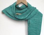 Teal green hand knit wool scarf.  Cashmere and merino blend hand dyed and hand knitted shawlette with cabling and picot.