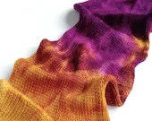 Hand dyed double stranded gold - plum purple superwash merino/nylon sock yarn blank. 4ply/fingering/sock weight wool yarn.