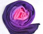 Hand dyed sock yarn, superwash merino/nylon sock/fingering/4ply sock blank. Hot pink purple gradient sock yarn blank, knitted blank