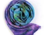 Hand dyed sock yarn, superwash merino/nylon sock/fingering/4ply sock blank.  Purple and blue speckled sock yarn blank, knitted blank