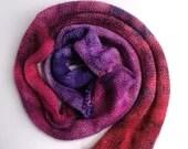 Hand dyed DK yarn blank, superwash merino gradient knitted blank.  Wool yarn blank, red purple gradient yarn, mottled yarn, marbled yarn.