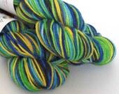 Hand dyed variegated wool, superwash merino aran weight yarn. Green Headed Tannager, greens, blues, yellow, black, UK indie dyer, knitting.