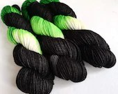 Hand dyed DK wool yarn, sw BFL DK yarn, Superwash Blue Faced Leicester double knit yarn, Alien black and green dk yarn, wool for knitting.