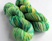Hand dyed bamboo DK wool yarn, 80/20% superwash merino/bamboo DK yarn.  Green blue yellow bamboo blend double knit yarn, soft merino bamboo.