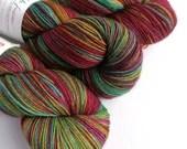 Hand dyed yak sock yarn, variegated sw merino/yak/nylon sock/4ply/fingering. New Rainbow sock yarn, multi-coloured fingering weight yarn.