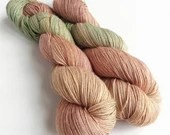 Hand dyed yarn. 50/50% sw merino/cotton 4ply/fingering weight yarn. Light autumn, brown and green cotton blend yarn, wool and cotton 4ply.