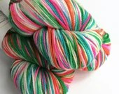 Hand dyed sport weight yarn, variegated 80/20% superwash merino wool/nylon,  Candy Land, variegated pink, green, blue and orange sock yarn.