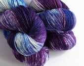 Hand dyed variegated yarn - single ply merino/silk 4ply/fingering weight yarn. purples and blues ooak, 1ply yarn, knitting crochet wool