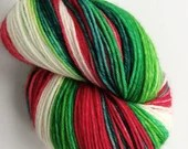 Hand dyed variegated 75/25% superwash merino/nylon sock fingering 4ply weight yarn, Holly Jolly Christmas - red, green and white sock yarn.