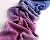 Hand dyed silk blend yarn blank, superwash merino/silk 4ply/fingering knitted blank. pink blue purple speckled, wool silk yarn, knitting