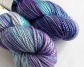 Hand dyed MCN aran yarn - superwash merino/cashmere/nylon aran weight. Turquoise blue and purple tonal, soft wool yarn with cashmere.