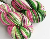 Hand dyed sparkle DK yarn, superwash merino/nylon/stellina double knit yarn, Whoville sparkle yarn, hot pink green and white wool blend yarn