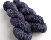 Hand dyed semi-solid sock yarn, tonal dark blue, purple, grey 75/25% superwash BFL/nylon sock weight fingering 4ply yarn. Midnight Haze.