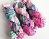 Hand dyed worsted weight wool yarn. Shocker, worsted superwash merino wool, hot pink, blue and grey indie dyed knitting yarn, crochet yarn.