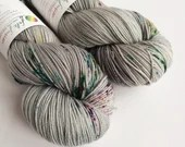 Hand dyed sock yarn, speckled sock yarn, superwash merino/nylon sock fingering 4ply weight yarn.  Grey sock yarn with multi-colour speckles.