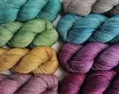 Hand dyed fingering weight yarn, single ply superwash merino/yak/silk yarn, yak silk blend yarn, tonal 4ply yarn, semi-solid 4-ply silk yarn