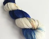 Indie dyed silver sparkle sock yarn, superwash merino/nylon/stellina sparkle sock yarn, hand dyed yarn.  Blue Amanita blue and speckled yarn
