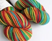 Hand dyed rainbow BFL aran yarn. Red, orange, yellow, green and blue Indie dyed aran weight yarn. Suitable for cloth nappy covers.
