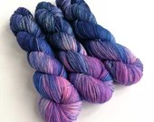 Hand dyed sock yarn, variegated merino sock yarn, superwash merino/nylon 4ply, fingering weight yarn.  Hot pink and dark blue sock yarn.