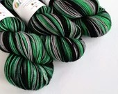 Hand dyed sock yarn, high twist superwash merino/nylon sock/fingering/4ply, variegated sock yarn, greens grey black sock knitting yarn