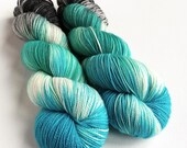 Hand dyed yarn, 100g of silver sparkle sock yarn, superwash merino/nylon/stellina, indie dyed, Forbidden Forest, variegated black and blue