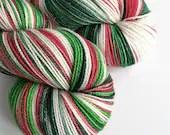 Indie dyed silver sparkle sock yarn, superwash merino/nylon/stellina sparkle sock yarn, hand dyed yarn. Holly Jolly Christmas red green yarn