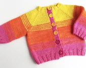 Child's hand knitted wool cardigan. Boys or girls button up sweater. Hand made using hand dyed wool. 6-12 months, 1 year old's cardigan.