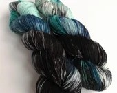 Hand dyed sock yarn, 75/25% superwash merino/nylon sock fingering 4ply weight yarn, Enchanted Walk, variegated blue black white sock yarn.