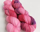 Hand dyed superwash merino dk wool yarn, Crazy 8 double knit,  Just for fun, one of a kind pink yarn with red and purple. OOAK DK wool.