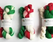 Self-striping sock yarn, hand dyed Christmas yarn, dyed to order, 75/25% superwash wool/nylon sock/fingering/4-ply,  red green white wool