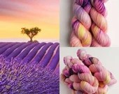 Hand dyed yarn pre-order.  Dream Fields colourway. Variegated wool yarn dyed to order. Light pinks, yellows, purples and speckles.
