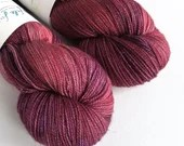 Hand dyed sparkle sock yarn, superwash merino/nylon/stellina sparkle sock/fingering yarn. Dark red and purple sparkle sock yarn, Berry yarn.