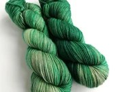 Hand dyed superwash merino dk wool yarn, Minerva, tonal greens, semi-solid green colours.  Indie dyed double knit knitting or crochet yarn.