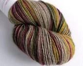 Hand dyed yak sock yarn, variegated sw merino/yak/nylon sock/4ply/fingering. Vintage Christmas sock yarn, Christmas fingering weight yarn.