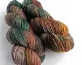 Hand dyed British wool sock yarn, sw Exmoor Blueface/Corriedale/Zwartbles/nylon 4ply/fingering wool yarn. Autumn OOAK, green, gold, browns