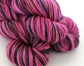 Hand dyed variegated yarn - single ply merino/silk 4ply wool. pinks, purple, black, 1ply yarn, sock, fingering weight knitting wool, crochet